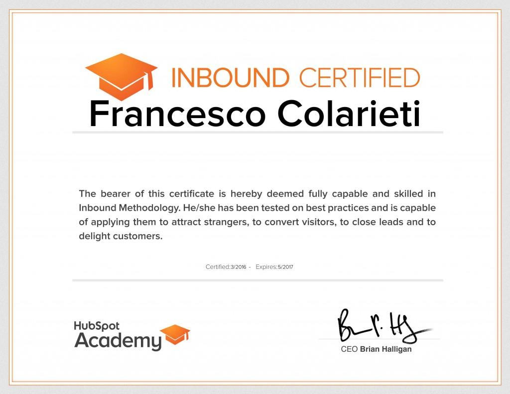 Inbound Marketing Certicate